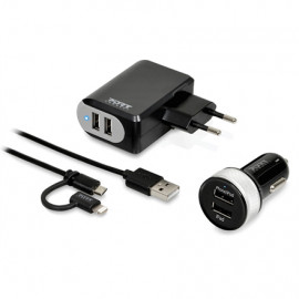 Port Connect Wall + Car Charger 2 USB + 2IN1 - EU (Lightning and Micro USB connector)